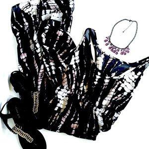 Boho Tie-Dye Black & White Hi-Lo Ruffle Dress M/L